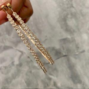 Extra Large Gold Crystal Hoop Earrings